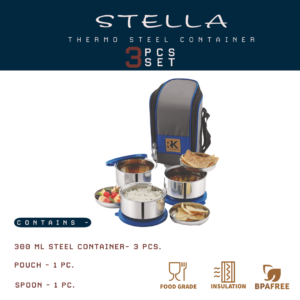 Stella Thermo Steel Container 3pcs Set 9006