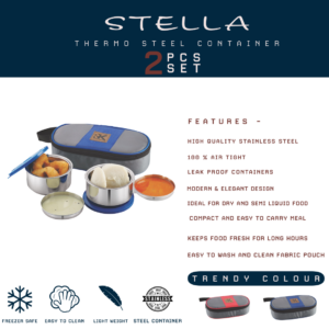 Stella Thermo Steel Container 2pcs Set 9005